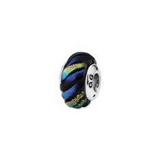 Sterling Silver Rainbow Swirl Dichroic Glass Bead