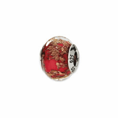 Sterling Silver Red/Gold Italian Murano Bead