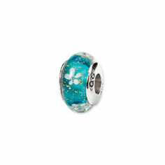 Sterling Silver Reflections Blue Floral Hand-blown Glass Bead