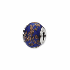 Sterling Silver Reflections Blue/Gold Italian Murano Bead