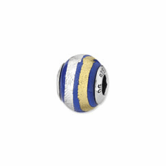 Sterling Silver Reflections Blue, Gold & Silver Italian Murano Bead""