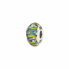 Sterling Silver Reflections Blue/Green Circles Hand-blown Glass Bead