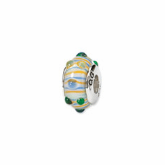Sterling Silver Reflections Blue/ Green/Yellow Stripes Hand-blown Glass