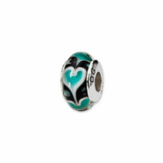 Sterling Silver Reflections Blue Heart Hand-blown Glass Bead