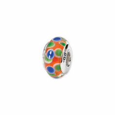 Sterling Silver Reflections Blue/Orange/Green Hand-blown Glass Bead