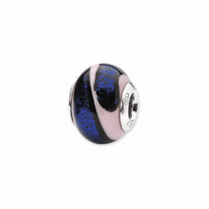 Sterling Silver Reflections Blue/Pink Italian Murano Bead