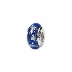 Sterling Silver Reflections Blue Star Hand-blown Glass Bead