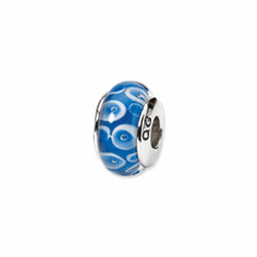 Sterling Silver Reflections Blue/White Hand-blown Glass Bead