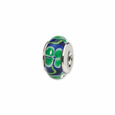 Sterling Silver Reflections Blue with Clover Hand-blown Glass Bead