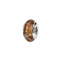 Sterling Silver Reflections Brown Hand-blown Glass Bead