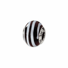 Sterling Silver Reflections Brown/White Italian Murano Bead