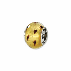 Sterling Silver Reflections Gold/Brown Italian Murano Bead