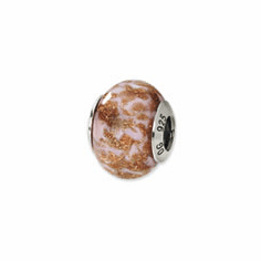 Sterling Silver Reflections Gold/Brown/White Italian Murano Bead