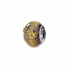 Sterling Silver Reflections Gold/Purple Italian Murano Bead