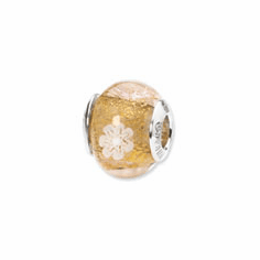 Sterling Silver Reflections Gold/White Flower Italian Murano Bead
