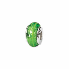 Sterling Silver Reflections Green Hand-blown Glass Bead