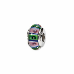 Sterling Silver Reflections Green/Pink Hand-blown Glass Bead