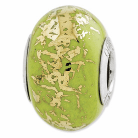 Sterling Silver Reflections Green w/Gold Foil Ceramic Bead