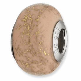 Sterling Silver Reflections Light Pink w/Gold Foil Ceramic Bead Ready to Ship Today