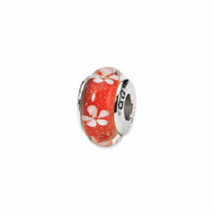 Sterling Silver Reflections Orange Floral Hand-blown Glass Bead