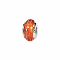 Sterling Silver Reflections Orange Hand-blown Glass Bead