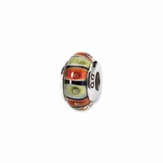 Sterling Silver Reflections Orange,Red/Lt Green Glass Bead