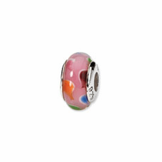 Sterling Silver Reflections Pink/Blue Hand-blown Glass Bead