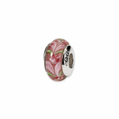 Sterling Silver Reflections Pink Heart Hand-blown Glass Bead