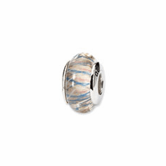 Sterling Silver Reflections Pink Striped Hand-blown Glass Bead