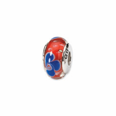 Sterling Silver Reflections Red/Blue Hand-blown Glass Bead