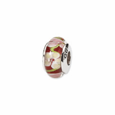 Sterling Silver Reflections Red Floral Hand-blown Glass Bead