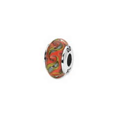 Sterling Silver Reflections Red/Teal Swirl Hand-blown Glass Bead