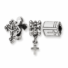 Sterling Silver Reflections Religious Boxed Bead Set