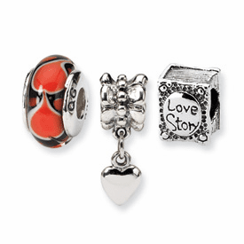Sterling Silver Reflections Romance Boxed Bead Set