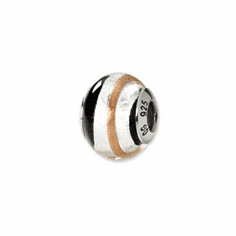 Sterling Silver Reflections Silvr/Gold/Black Italian Murano Bead