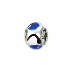 Sterling Silver Reflections White/Blue/Black Italian Murano Bead