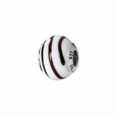 Sterling Silver Reflections White/Brown Italian Murano Bead