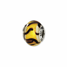 Sterling Silver Reflections White/Gold/Brown Italian Murano Bead