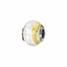 Sterling Silver Reflections White/Gold Italian Murano Bead