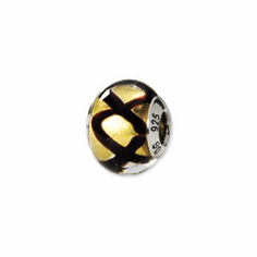 Sterling Silver Reflections Yellow/Black Italian Murano Bead