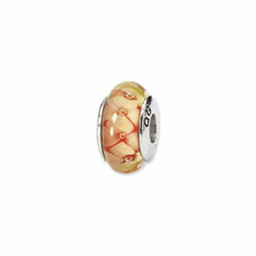 Sterling Silver Reflections Yellow Floral Hand-blown Glass Bead