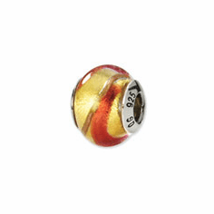 Sterling Silver Reflections Yellow/Gold/Orange Italian Murano Bead