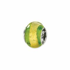Sterling Silver Reflections Yellow/Green Italian Murano Bead