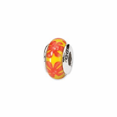 Sterling Silver Reflections Yellow/Orange Hand-blown Glass Bead