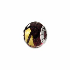 Sterling Silver Reflections Yellow/Purple/Black Italian Murano Bead
