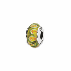 Sterling Silver Reflections Yellow/Red Floral Hand-blown Glass Bead