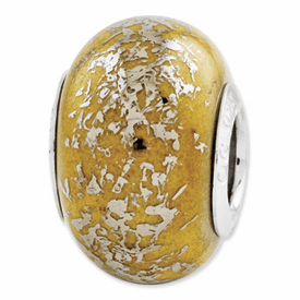 Sterling Silver Reflections Yellow w/Platinum Foil Ceramic Bead