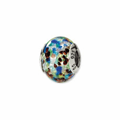 Sterling Silver Silver/Blue/Red Italian Murano Bead