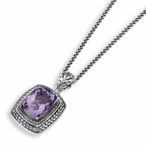"""Sterling Silver w/14k Antiqued Amethyst & Diamond 20"""" Necklace by Town & Country"""
