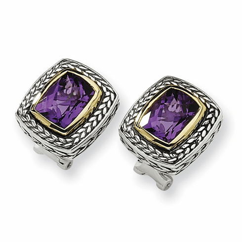 Sterling Silver w/14ky 10X8mm Amethyst Omega Back Earrings by Town and Country